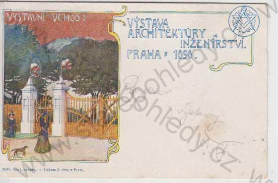 Praha, Výstaviště, výstava architektury a inženýrství 1898, partie vchod na výstavu, kolorovaná, DA